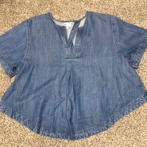 Guess open back jean shirt